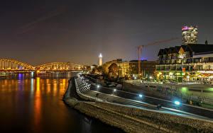 Фотографии Германия Кёльн Здания Реки Мосты Ночью Уличные фонари город