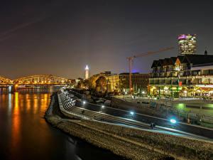 Фотографии Германия Кёльн Здания Реки Мост Ночью Уличные фонари город