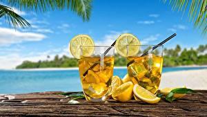 Фотографии Лимоны Лимонад Напитки Стакан Двое Еда