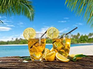 Фотографии Лимоны Лимонад Напитки Стакан Две Еда