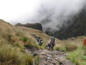 Фотографии Перу Камни Гора Альпинизм Туман Тропинка Трава Прогулка Cuzco, Machu Picchu, South America