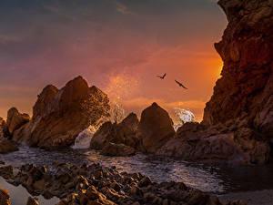 Фотографии Штаты Рассветы и закаты Побережье Калифорния Скала Брызги Corona Del Mar