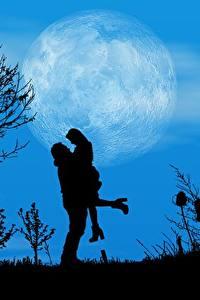 Картинка Любовь Ночные Луны Дерево Силуэта 2 Свидании