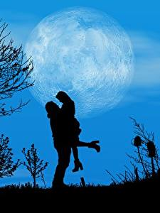 Картинка Любовь Ночные Луны Дерево Силуэта 2 Свидании Природа
