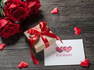 Фотография День святого Валентина Подарков Бант Сердца Цветы