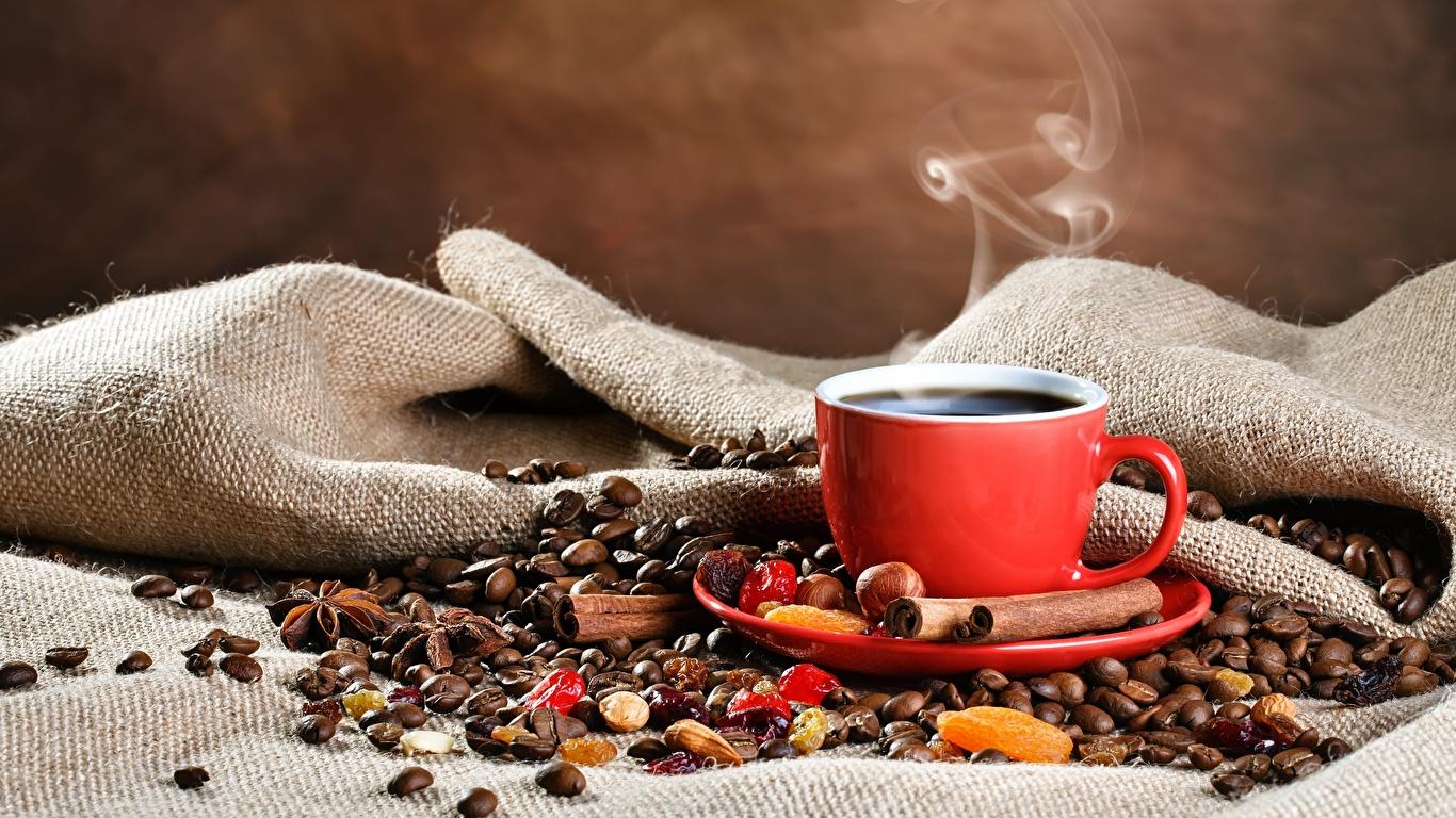 Фотография Кофе Зерна Корица Пища пары Чашка 1366x768 зерно Еда Пар чашке паром Продукты питания