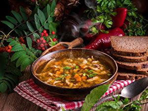 Фотографии Супы Хлеб Перец Тарелке Миска Продукты питания