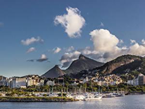 Фотография Бразилия Дома Горы Причалы Корабли Рио-де-Жанейро Облака Города