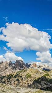 Картинка Италия Пейзаж Гора Небо Альпы Облака Dolomiti Природа