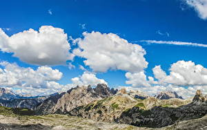 Картинка Италия Пейзаж Горы Небо Альпы Облака Dolomiti Природа
