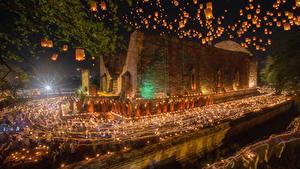 Фотография Таиланд Храмы Вечер Свечи Ночные Ayutthaya Города