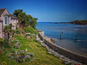 Картинка Великобритания Дома Берег Заливы Кустов Bude Cornwall Города