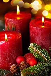 Картинки Свечи Рождество Пламя Трое 3