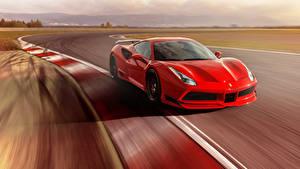 Картинка Феррари Красный Металлик Скорость 2017 Novitec Rosso Ferrari 488 GTB N-Largo Авто