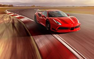 Картинка Феррари Красный Металлик Скорость 2017 Novitec Rosso Ferrari 488 GTB N-Largo