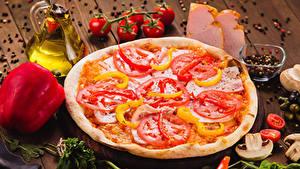 Фотографии Быстрое питание Пицца Овощи Приправы Доски