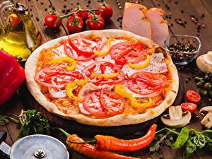 Фотографии Быстрое питание Пицца Овощи Приправы Доски Пища