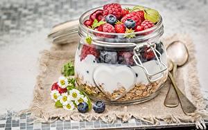 Фото Мюсли Ягоды Малина Банка Завтрак Еда