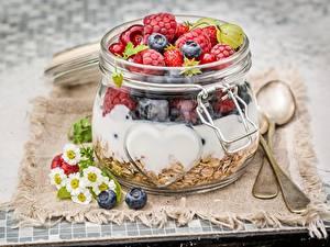 Фото Мюсли Ягоды Малина Банке Завтрак Еда