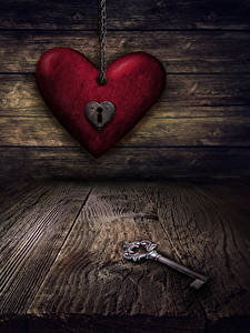 Фото День всех влюблённых Доски Сердечко Ключом
