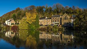 Фотография Англия Здания Речка Cromford Derbyshire Города