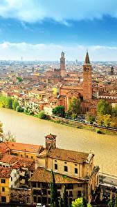 Картинка Верона Италия Здания Реки Небо Водный канал