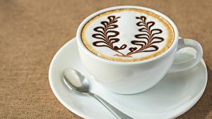 Картинки Напитки Кофе Капучино Цветной фон Чашка Ложки Еда