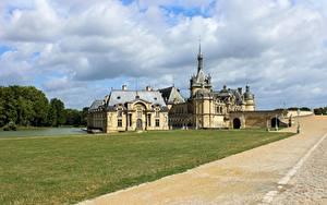 Фотография Дороги Замок Франция Траве Château de Chantilly Города