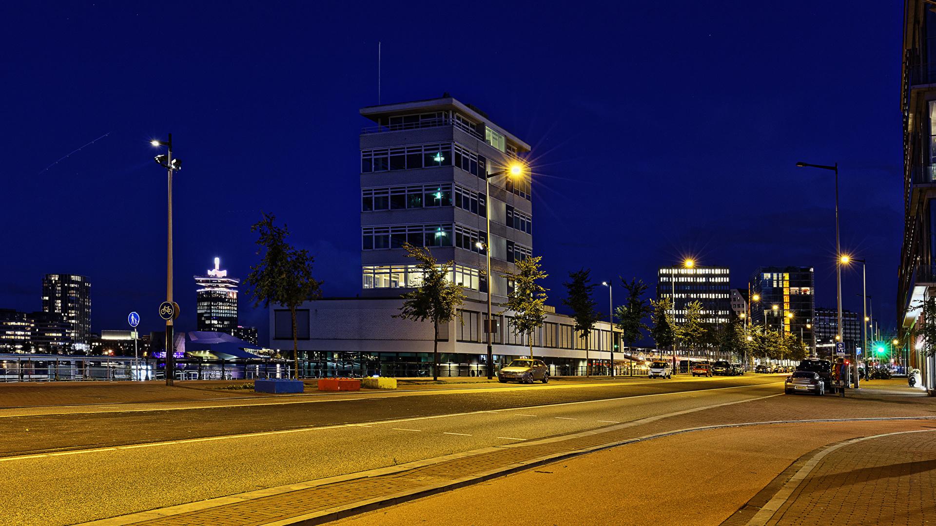 Фотографии Амстердам Нидерланды Дороги Ночные Уличные фонари Города Здания 1920x1080 Ночь Дома