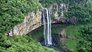 Картинка Бразилия Леса Горы Водопады Утес Caracol Falls, Caracol State Park, Rio Grande do Sul Природа