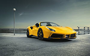 Фотография Ferrari Желтая Родстер Spider Rosso Novitec 488