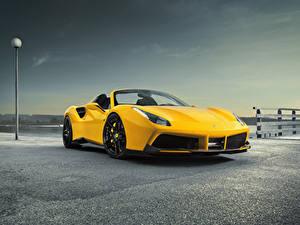 Фотография Ferrari Желтый Родстер Spider Rosso Novitec 488 Автомобили