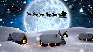 Картинка Олени Зима Здания Ночные Луны Санки Санта-Клаус Силуэт Снег