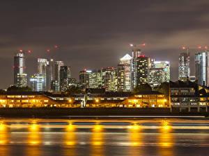 Картинки Англия Здания Реки Вечер Лондон город
