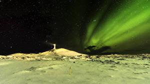Фотография Исландия Маяки Небо Звезды Северное сияние Ночные Снег Природа