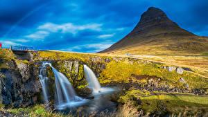 Картинки Исландия Водопады Утес Мох Borgarnes Myrasysla Природа