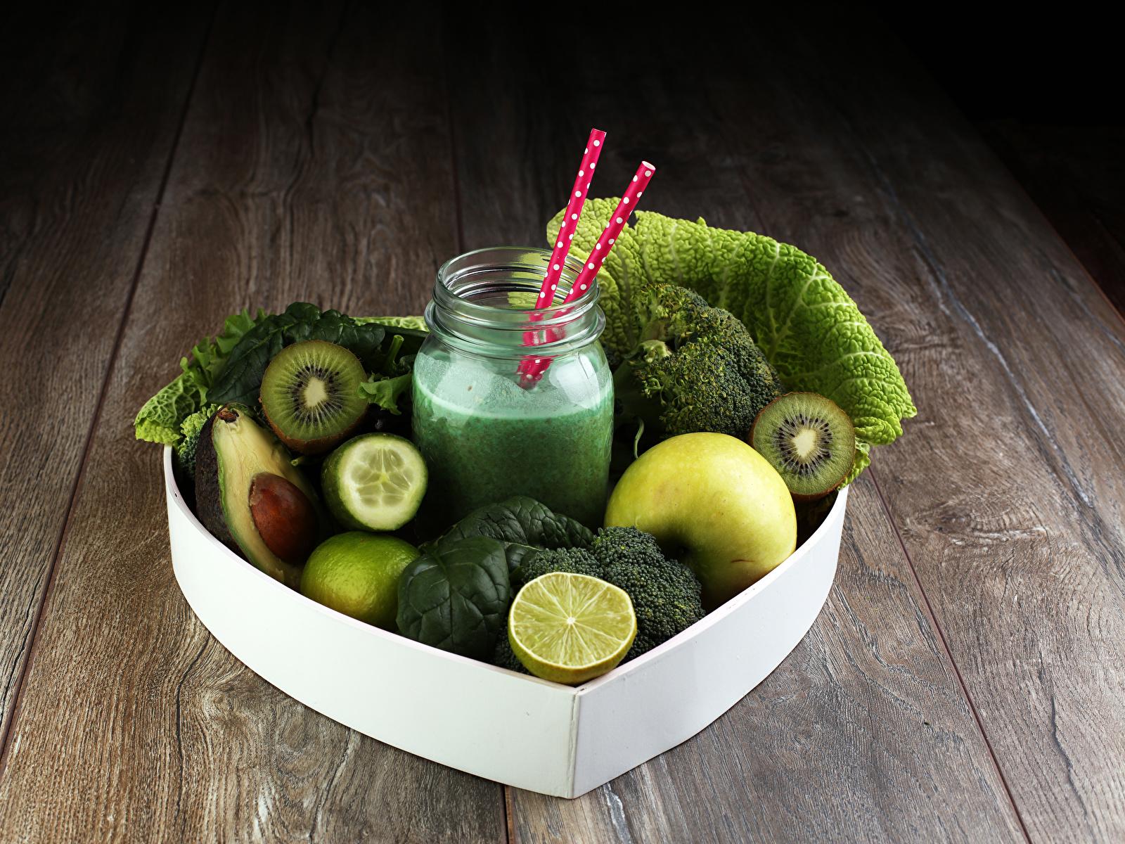 Фотография Овощи зеленых Банка Еда Смузи Фрукты Доски 1600x1200 Зеленый зеленые зеленая банки банке Пища Продукты питания