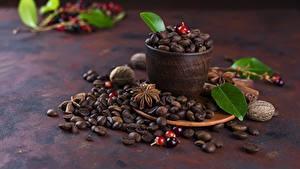 Фотографии Кофе Зерна Чашке Листья Продукты питания