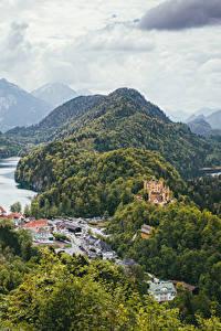 Фото Германия Горы Озеро Дома Замок Леса Пейзаж Hohenschwangau Bayern