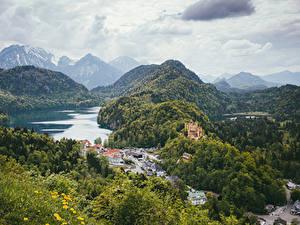 Фото Германия Горы Озеро Дома Замок Леса Пейзаж Hohenschwangau Bayern Природа