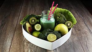 Фотография Овощи Фрукты Смузи Доски Банка Зеленый Продукты питания
