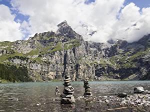 Обои Озеро Камень Гора Швейцария Скалы lake Oeschinen