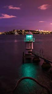 Обои Маяк Берег Австралия Море Сидней Ночные Заливы