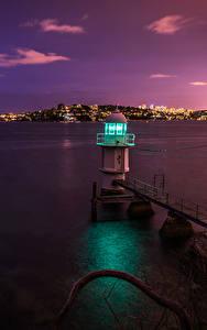 Обои Маяк Берег Австралия Море Сидней Ночные Заливы Природа