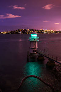 Обои Маяки Побережье Австралия Море Сидней Ночь Залив