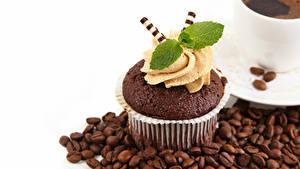 Обои Капкейк кекс Кофе Белым фоном Зерна Дизайн Листва Мята
