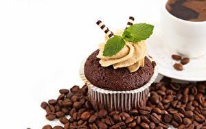 Обои для рабочего стола Капкейк кекс Кофе Белым фоном Зерна Дизайн Листва Мята Пища