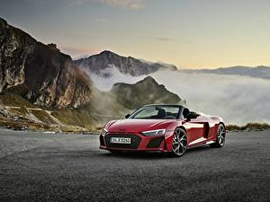 Фото Гора Ауди Красная Металлик Родстер Audi R8, Spyder, V10, 2020, RWD авто