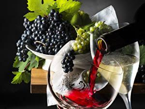 Обои Вино Виноград Бокалы