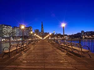 Фотография Штаты Мосты Здания Сан-Франциско Ночные Скамья Уличные фонари Ограда Города